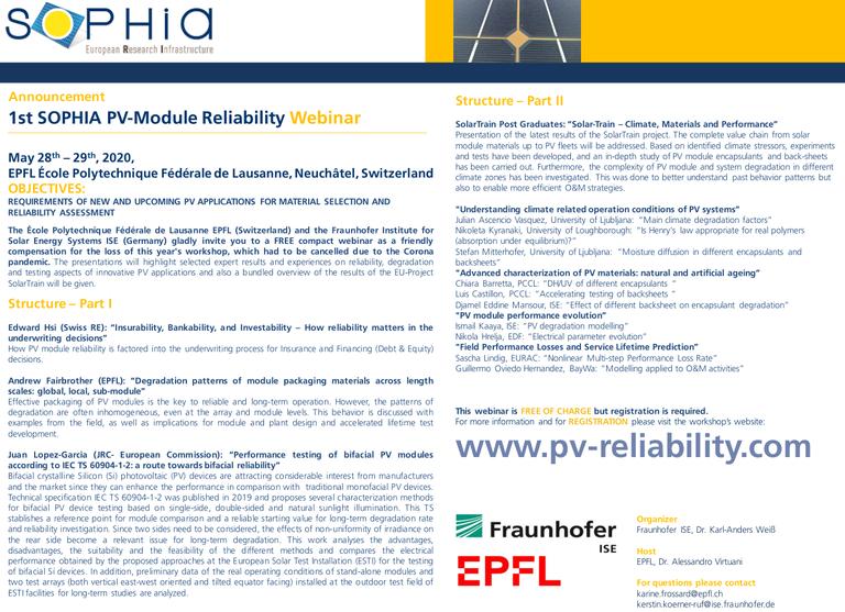1st SOPHIA PV-Module Reliability Webinar